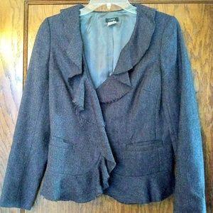 J. Crew Gray Wool Tweed Ruffle-Trim Blazer